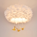 Round Feather Ceiling Chandelier Modernist 3/4/5 Bulbs 16