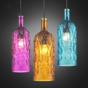 Pebbled Glass Coffee/Rose Red Pendant Bottle Shaped 1 Head Loft Style Hanging Light for Wine Bar