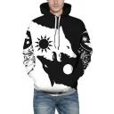Mens Hooded Sweatshirt Fashionable Wolf Moon Sun Ying-Yang Print Drawstring Long Sleeve Slim Fit Hooded Sweatshirt