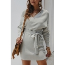 Fashionable Sweater Dress Solid Color Wrap Detail Tie Front Rib Knitted Long Sleeves Short Sweater Dress for Women