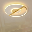Minimalist LED Ceiling Light Gold Ultrathin Circle Flush-Mount Light with Acrylic Shade in Warm/White/3 Color Light, 16.5