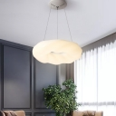 White Donut Pendant Chandelier Simple LED Acrylic Hanging Light Fixture for Dining Room