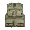 Fashion Hollow Mesh Patched Multi-Pocket Outdoor Fishing Photography Vest