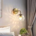 Water Glass Ball Wall Mount Light Post-Modern Single Bulb Gold/Black Wall Lamp Fixture for Bedroom