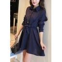 Fancy Women's Shirt Dress Plaid Pattern Tied-Waist Button Detail Turn-down Collar Long Sleeves Fitted Shirt Dress