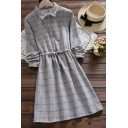 Fancy Women's Shirt Dress Drawstring Waist Button Design Plaid Print Turn-down Collar Long Sleeves Regular Fit Shirt Dress