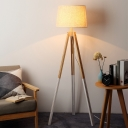 Three-Legged Standing Floor Lamp Nordic Wood 1-Light Black/White Reading Floor Light with Round Fabric Shade