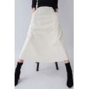 Womens Skirt Chic Plain Corduroy Large Pockets Front Invisible Zipper Back High Rise Midi A-Line Skirt