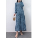 Womens Dress Fashionable Ditsy Floral Pattern Crew Neck Long Sleeve A-Line Regular Fitted Maxi Tiered Dress