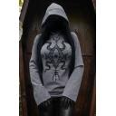 Creative Womens Hoodie Snake Eye Arrow Pattern Waist-Controlled Long Sleeve Slim Fit Hooded Sweatshirt