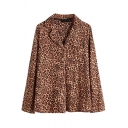 Stylish Women's Jacket All over Leopard Print Single-Breasted Notched Collar Long Sleeves Regular Fit Jacket
