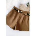 Womens Shorts Chic A-Line Solid Color Woolen Sewing Darts High Rise Regular Fitted Wide Leg Relaxed Shorts with Belt