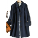 Cool Womens Trench Coat Solid Color Mid-Length Button down Loose Fit Long Sleeve Turn-down Collar Trench Coat