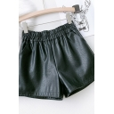 Cool Womens Shorts Solid Color Wide Leg Elastic Waist Regular Fitted PU Shorts