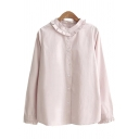 Elegant Womens Blouse Ruffled Hem Button-down Round Collar Solid Color Long Sleeves Regular Fitted Shirt Blouse