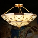 Frosted Glass Inverted Umbrella Semi Flush Traditional 23.5