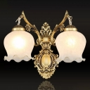 2 Heads Flower Bud Wall Lighting Antiqued Bronze Frosted White Glass Wall Mounted Lamp with Arm