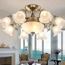 8 Lights Semi Flush Mount Chandelier Traditional Frosted Glass Ruffle Ceiling Light in Bronze/Copper