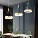 Circle LED Cluster Pendant Minimalist Acrylic Gold/Coffee LED Ceiling Hang Lamp in Warm/White Light