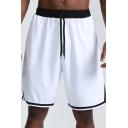 Mens Fitness Shorts Stylish Contrast Stripe-Hem Split Side Quick Dry Regular Fitted Drawstring Waist Knee-Length Sport Shorts
