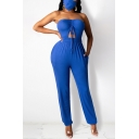 Womens Jumpsuit Stylish Solid Color Ruched Drawstring Cut-out Front Sleeveless Strapless Slim Fitted Cuffed Tapered Jumpsuit