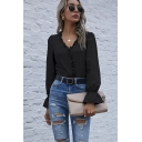 Womens Shirt Trendy Solid Color Stringy Selvedge Detail Button up V Neck Loose Fit Long Flounce Sleeve Shirt