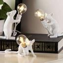 White Mouse Mini Night Table Light Decorative 1 Bulb Resin Nightstand Lamp for Kids Room