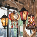 Black 1 Bulb Ceiling Hanging Lantern Turkish Stained Glass Flared/Globe/Pavilion Pendant Light Fixture