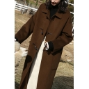 Stylish Women's Woolen Coat Pocket Detailed Horn Button Solid Color Spread Collar Long Sleeves Regular Fitted Woolen Coat