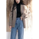 Vintage Women's Suit Jacket Plaid Pattern Chest Pockets Button Cuffs Notched Collar Long-sleeved Regular Fitted Suit Jacket