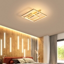 Minimalist Structure LED Ceiling Lamp Acrylic Bedroom Flush Mount Lighting in Coffee/Gold