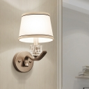 Tapered Drum Fabric Wall Light Kit Rustic 1-Light Living Room Wall Lamp in White with Crystal Accent