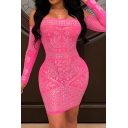 Fancy Women's Bodycon Dress Paisley Pattern Sequins Glitter Detailed off the Shoulder Long-sleeved Slim Fitted Short Bodycon Dress