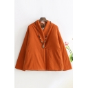 Chinese Style Womens Cheongsam-Jacket Solid Color Frog Button Detail Thick Loose Fit Long Sleeve Padded Jacket