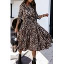 Stylish Women's A-Line Dress All over Leopard Printed Button Detail Waist-Belted Ruffles Spread Collar Long Sleeves Regular Fitted Shirt Dress