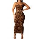 Novelty Womens Dress Leopard Skin Print Spaghetti Strap Sleeveless Slim Fitted Midi Bodycon Slip Dress