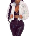 Unique Womens Jacket Plain Open Front Turn-down Collar Cropped Loose Fit Long Sleeve Fur Jacket