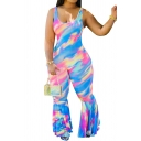 Fancy Women's Jumpsuit Tie Dye Printed Scoop Neck Sleeveless Flare Cuffs Slim Fitted Jumpsuit