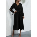 Casual Women's Shirt Dress Solid Color Hollow out Tie Detail Pleated V Neck Long Sleeves Regular Fitted Midi Shirt Dress