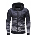 Men's Unique Ombre Camouflage Printed Long Sleeve Zip Up Gray Hoodie