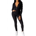 Creative Womens Co-ords Solid Color Zipper down Long Sleeve Hooded Jacket Skinny Fitted Long Pants Jogger Co-ords