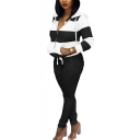 Womens Co-ords Fashionable Contrast Stripe Panel Zipper down Long Sleeve Hooded Jacket Full Length Pants Slim Fit Jogger Co-ords