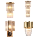 1/3-Bulb Wall Mounted Light Modern Triangle Prism/3-Tier/Layered Crystal Wall Sconce Lighting in Antiqued Gold