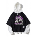 Fashionable Mens Black Hooded Sweatshirt Cartoon Letter Pattern Applique Long Sleeve Pocket Drawstring Regular Fit Pullover Hoodie