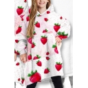 Chic Womens Hoodie Strawberry Pineapple Pizza Bread Milk Ice Cream Avocado Juice Print Thick Convertible Loose Fit Long Sleeve Tunic Blanket Hoodie