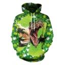 Saint Patrick's Day Funny Green Hat Dinosaur Printed Unisex Casual Loose Hoodie