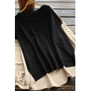 Fancy Women's Shirt Color Block Ruched Cuffs Asymmetrical Hem Round Neck Long-sleeved Relaxed Fit Shirt Blouse