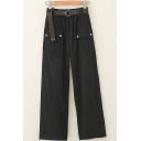 Womens Pants Chic Plain Flap Pockets Front Elastic Waist Loose Fitted Long Straight Cargo Pants