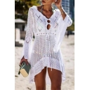Fancy Women's A-Line Dress Broderie Design Hollow out Drawstring Waist Asymmetrical Hem Long Flare Cuff Sleeves
