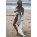 Classic Womens Jacket Hollow out Backless Tie Open Front Loose Fitted Long Flare Sleeve Longer Length Cover-up Beach Jacket